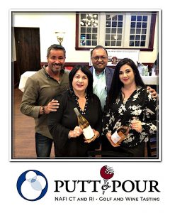 """Putt & Pour event sponsor Sanjay """"Sam"""" Shah with his Sammy's Buyrite Liquors of Wethersfield team."""
